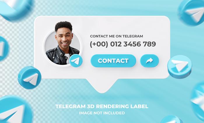Banner Icon Profile Telegram 3D Rendering Label Template