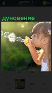 Девочка пускает мыльные пузыри, дуновение сквозь колечко на палочке
