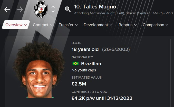 Talles Magno FM21 Football Manager 2021 Wonderkid
