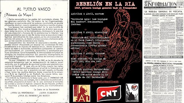 Cartel de actividades de CNT y documentos históricos sobre la huelga de 1947