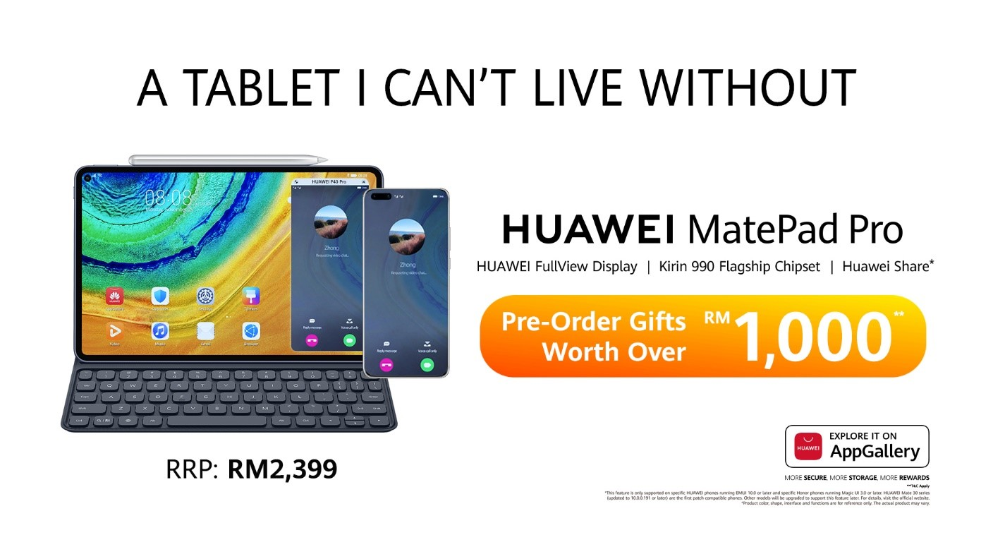 Pre-Order Online For Huawei MatePad Pro Will Begin Tomorrow, 3 April 2020 till 10th April 2020