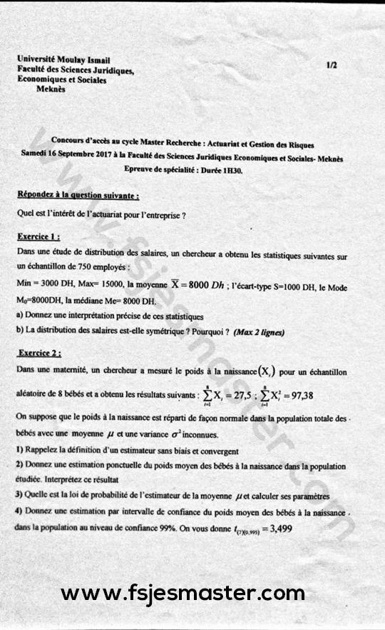 Exemple Concours Master Actuariat et Gestion des Risques 2017-2018 - Fsjes Meknès