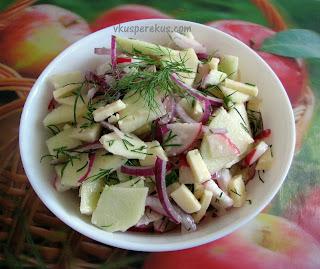 яблочный салат, редис, сыр