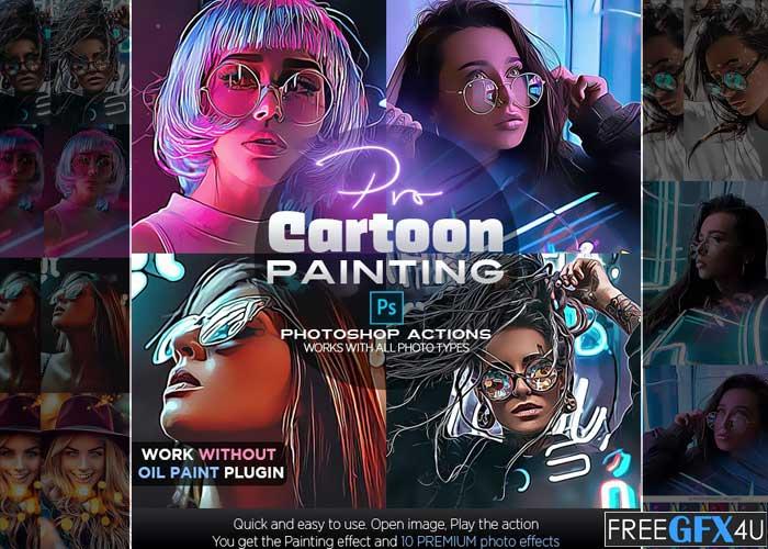 Pro Cartoon Painting Photoshop Action