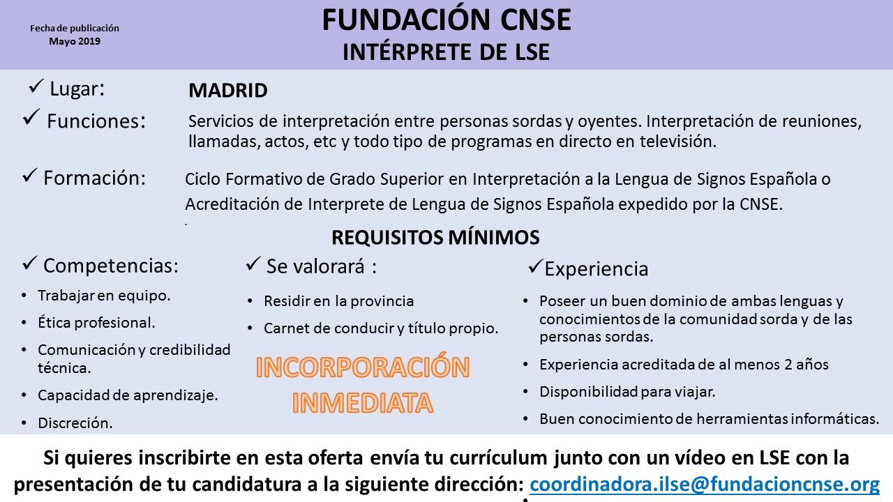 Fundacion CNSE busca ILSE - Madrid Ils%2Bcnse