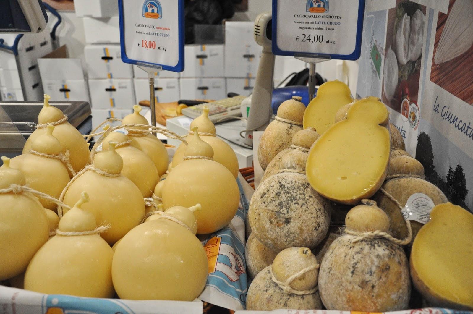 Caciocavallo cheese at CosmoFood Fair, Vicenza, Italy