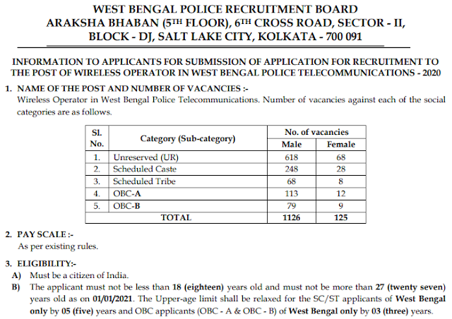 WB Police Wireless Operator online form 2021