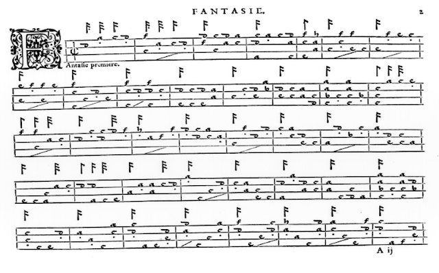 facsimile of renaissance guitar music 'Fantasie' by le Roy published 1551