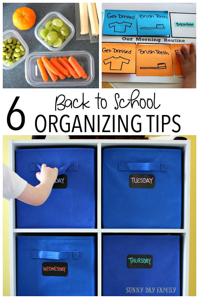 Get Organized for Back to School with these 6 easy tips! Get everything from lunch to clothes to your morning routine under control with these back to school organizing ideas. Includes a printable school planner too!