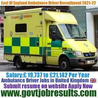 East of England Ambulance Driver Recruitment 2021-22