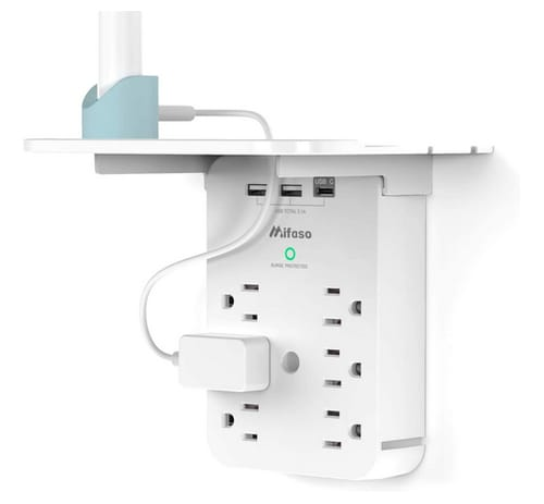 Mifaso Wall Outlet Extender Surge Protector 6 AC Outlets