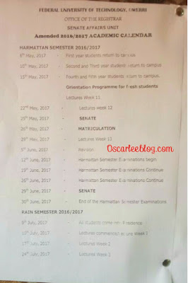 FUTO new academic calender 2016/2017