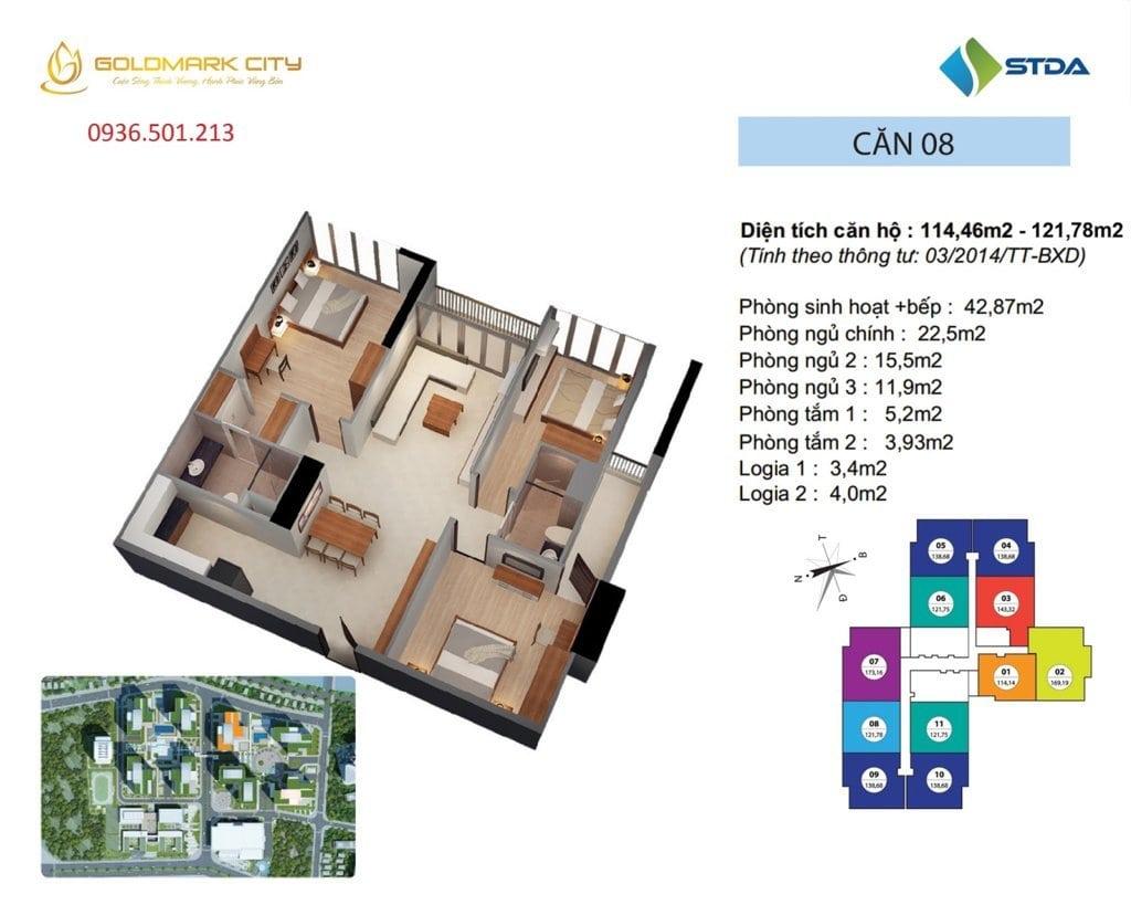 Mặt bằng căn hộ số 08 Ruby 1- Dự án Golmark City