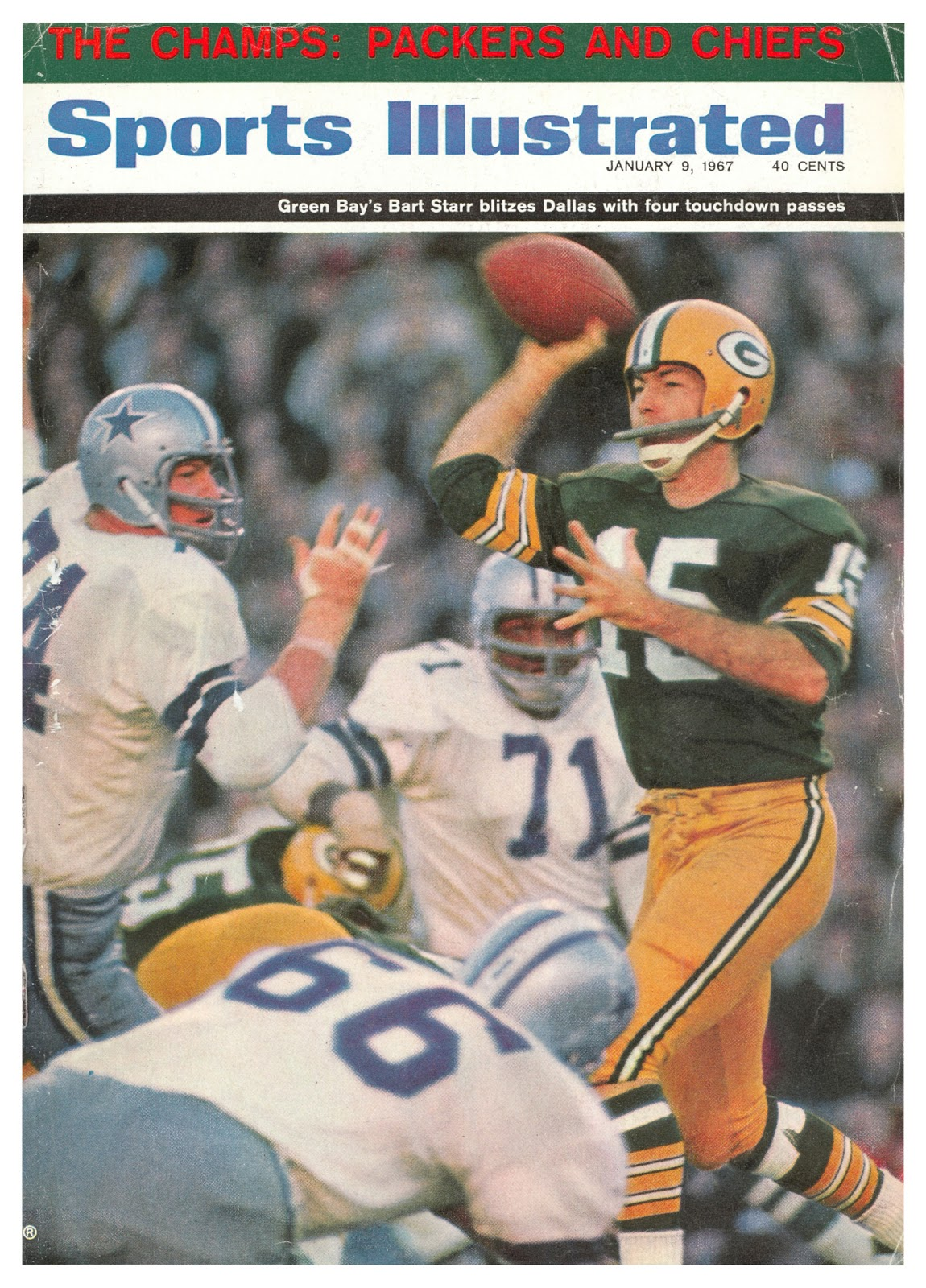 It shows quarterback Bart Starr bringing his arm forward to pass ad0c70d78