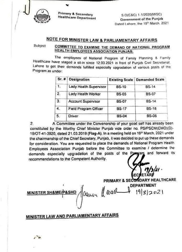 SUMMARY FOR UPGRADATION OF VARIOUS POSTS OF HEALTH DEPARTMENT