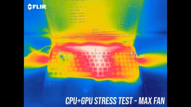 AN515's exterior temperature during CPU+GPU stress test at max fan.