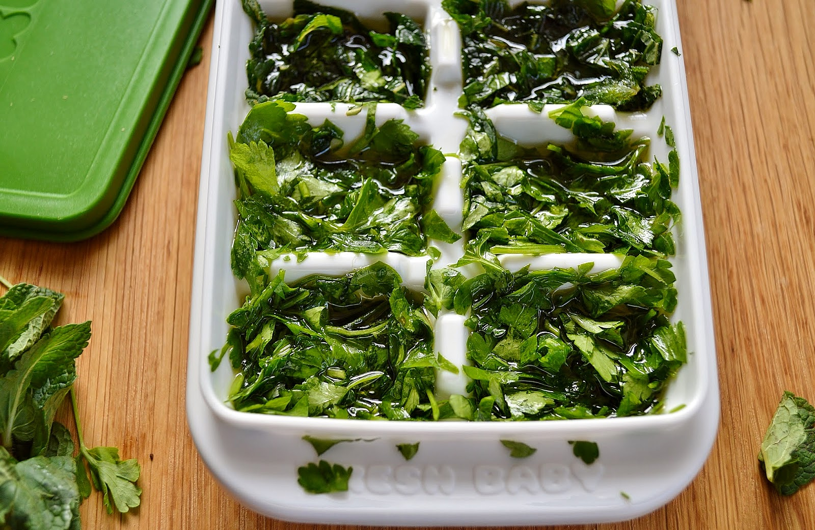 Freeze Fresh Herbs in extra virgin olive oil