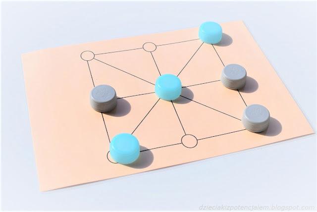 zdjęcie przedstawia plansze do gry w kolorze pomarańczowym z dziewięcioma polami połączonymi liniami oraz po trzy pionki szare i trzy niebieskie ustawione na różnych polach planszy