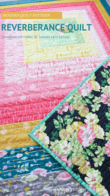 Reverberance Quilt Pattern featuring Joy Fabrics by Tamara Kate Design for Michael Miller Fabrics | Shannon Fraser Designs | Modern Log Cabin Quilt