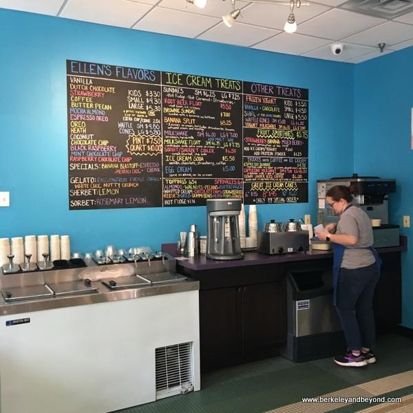 interior of Ellen's Homemade Ice Cream in Charleston, West Virginia