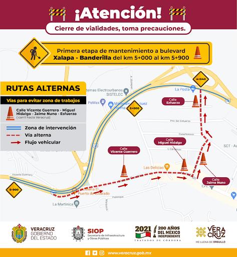 Rehabilitan carretera Xalapa-Banderilla;  use vías alternas si debe transitar por la zona