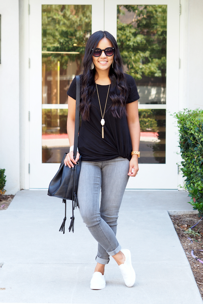 black twist tee + white accessories + white sneakers + grey jeans