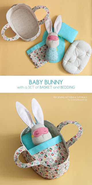 diy baby bunny with set of sleeping basket and bedding