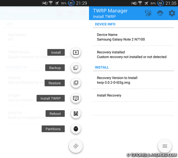 Installer TWRP via TWRP Manager