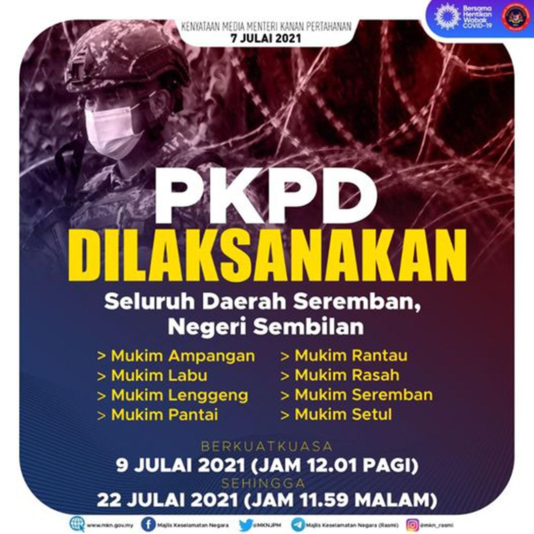 PKPD Seremban Bermula 9 Julai 2021