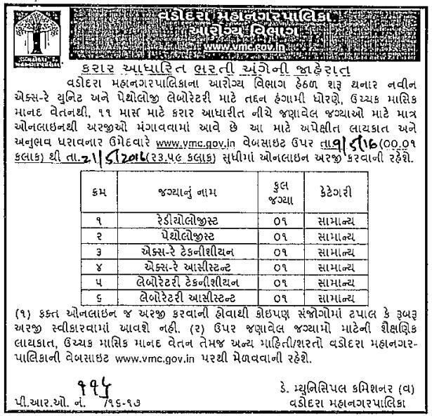 Vadodara Municipal Corporation Various Posts Recruitment