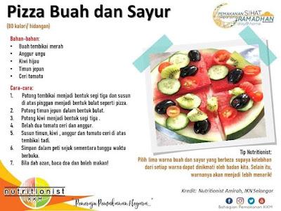 menu berbuka puasa dan sahur simple pizza buah sayur