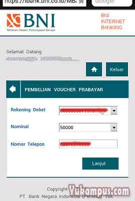 pilih nominal pulsa internet banking bni