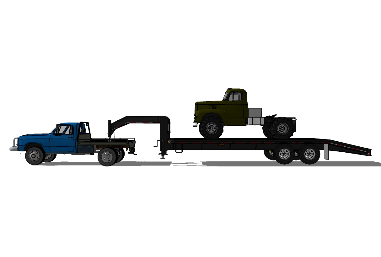 3d Model Trucks On Trailers Perspective And Side Of The
