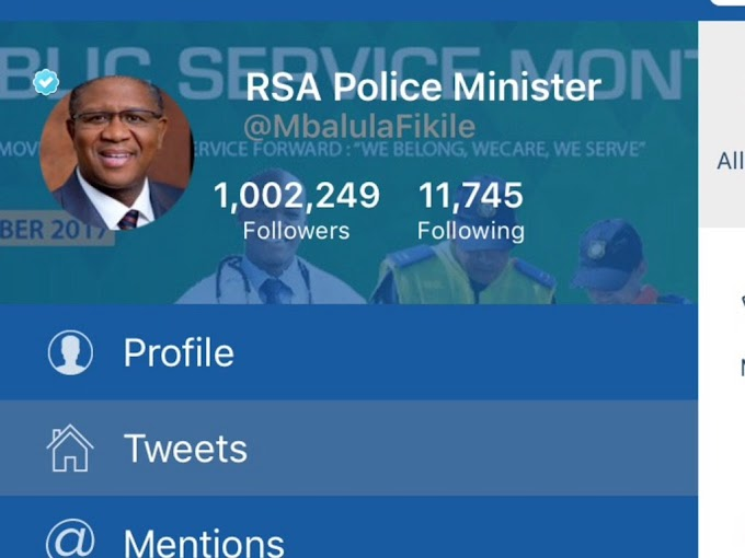 South Africa police congratulates minister for hitting 1m Twitter followers