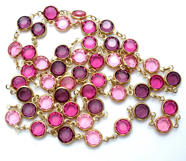 Purple and pink crystal necklace vintage jewelry