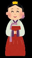 チョゴリを着た若い女性