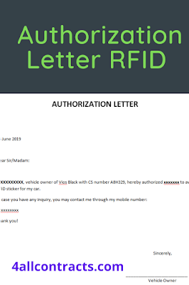 Authorization letter sample for RFID