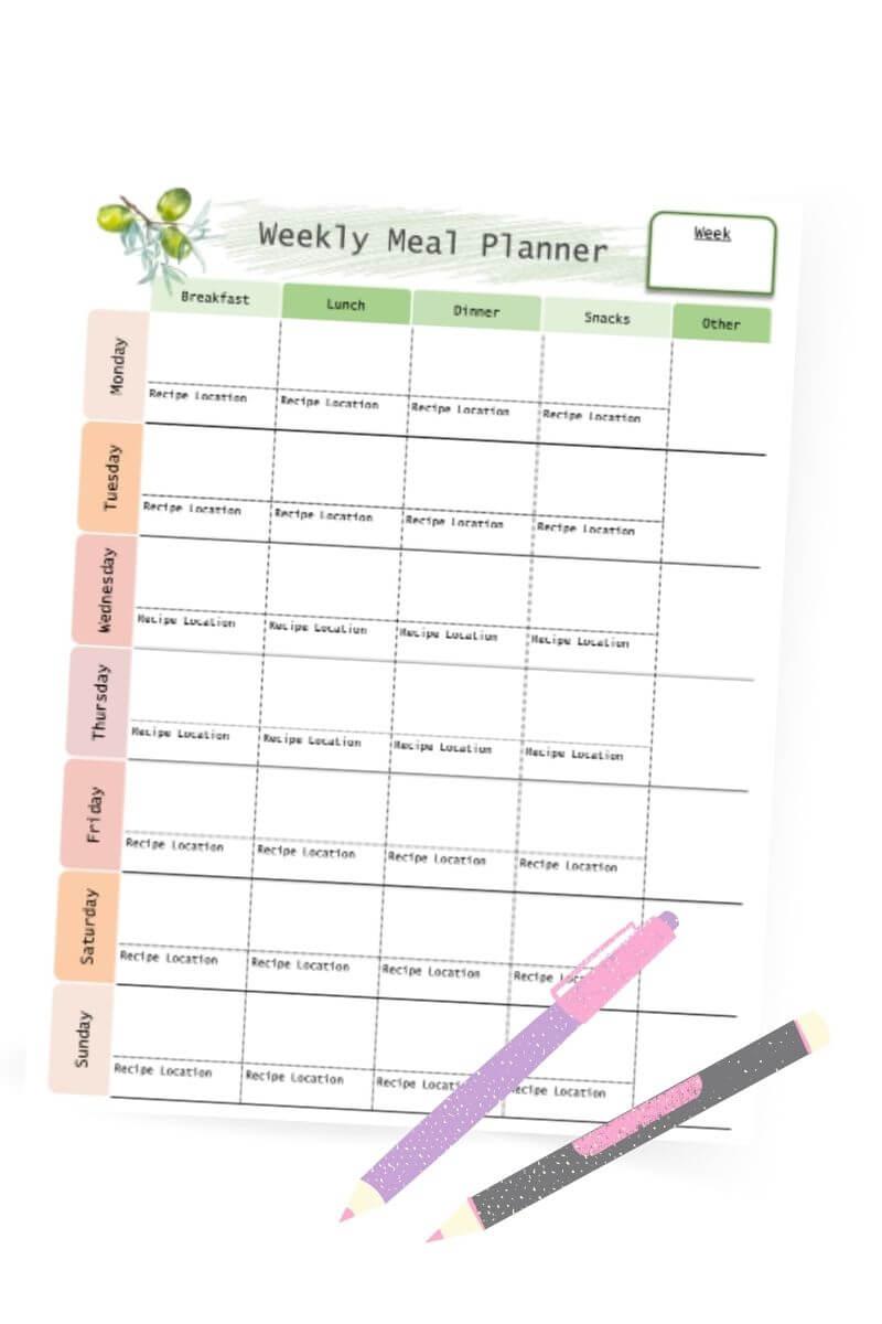 free weekly meal planning printables