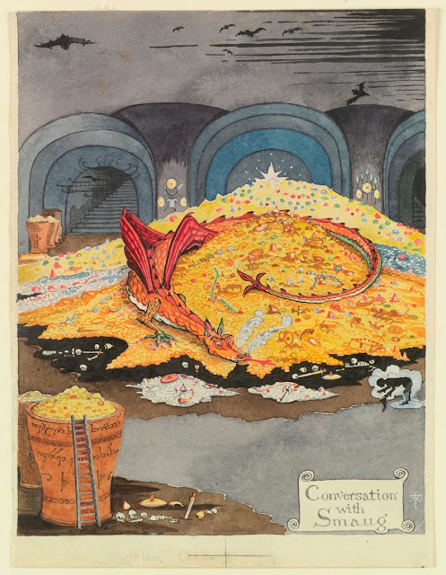 Conversation with Smaug. Illustration forThe Hobbit by J.R.R. Tolkien