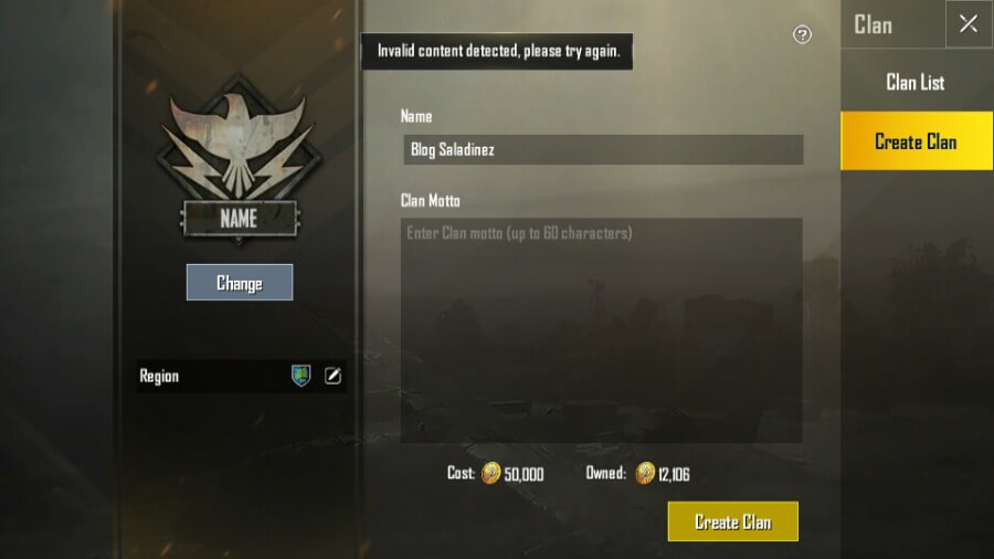 PUBG Clan Invalid Content Detected Error