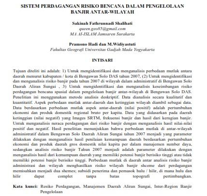 Sistem Perdagangan Risiko Bencana dalam Pengelolaan Banjir Antar-Wilayah [PAPER]
