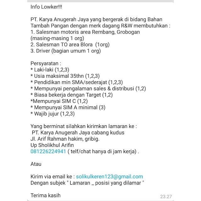 Lowongan Kerja Sales Motoris , Salesman, Dan Driver PT Karya Anugerah Jaya Penempatan Rembang