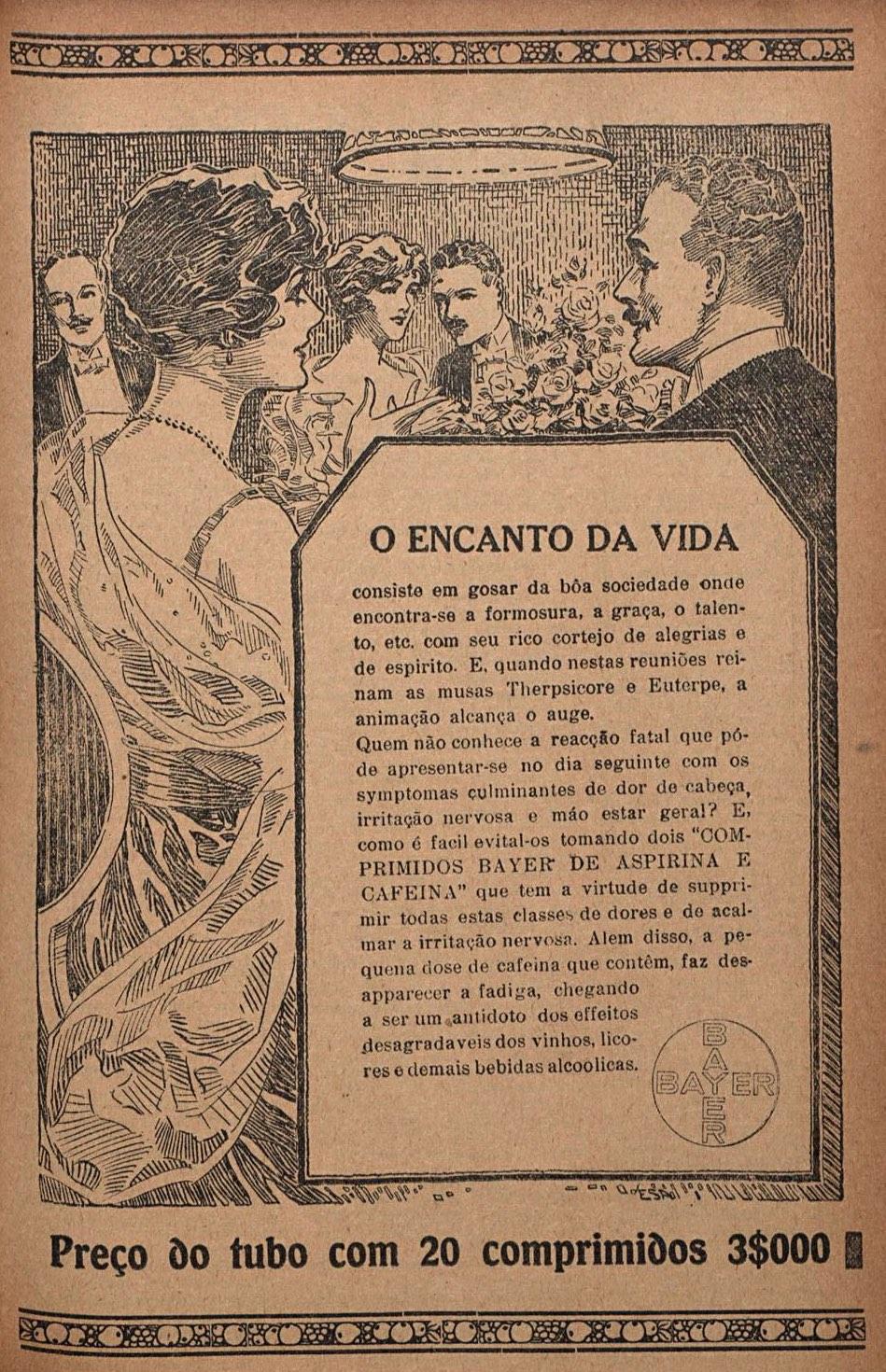 Propaganda antiga da Aspirina da Bayer em 1920