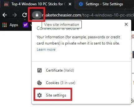 كيفية نسخ نص من موقع محظور في إعدادات موقع Chrome