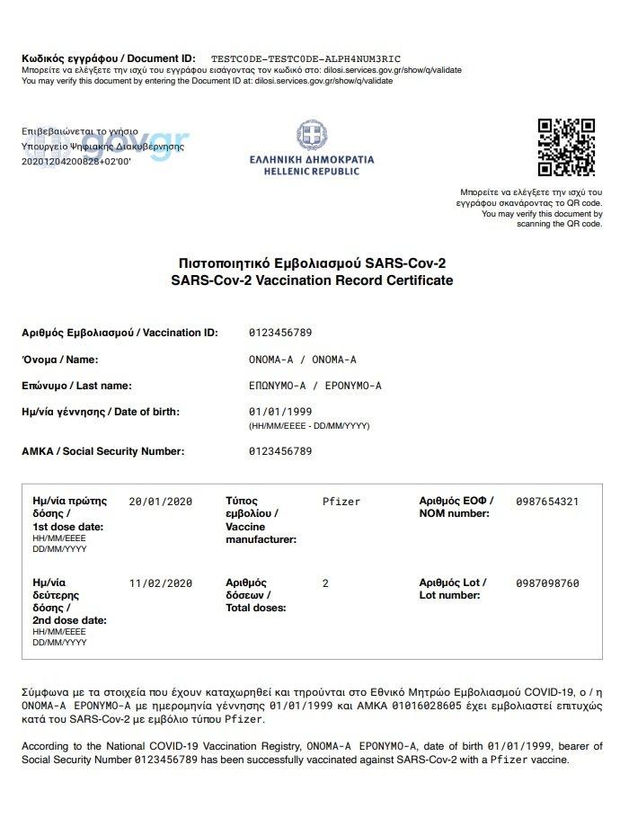 Πιστοποιητικό εμβολιασμού: Αυτό είναι το έγγραφο - διαβατήριο (pic) Newsroom Newsroom 12/01/2021 - 15:04 12/01/2021 - 15:0412/01/2021 - 15:04  INTIME INTIME Αυτό είναι το έγγραφο - διαβατήριο το οποίο χορηγεί στους εμβολιάζοντες η ελληνική κυβέρνηση. Πριν από λίγη ώρα έγινε γνωστή και η επιστολή Μητσοτάκη προς την Ε.Ε., με την οποία ζητά θέσπιση πιστοποιητικού εμβολιασμού για ταξίδια εντός Ε.Ε. για όσους πολίτες έχουν εμβολιαστεί.   Παρακάτω δείτε το έγγραφο το οποίο λαμβάνουν όσοι Έλληνες έχουν εμβολιαστεί και το οποίο, πιθανότατα, θα είναι το διαβατήριό τους για μετακινήσεις εντός των χωρών της Ε.Ε., έστω και αν χρειαστεί να υπάρξουν ορισμένες αλλαγές πάντα στο πλαίσιο της εσωτερικής συζήτησης που θα γίνει στις Βρυξέλλες για την ασφάλεια των ταξιδιών την τουριστική περίοδο.  Νωρίτερα, στην επιστολή που απέστειλε ο Μητσοτάκης αναφέρει πως για τη διασφάλιση της ταχύτερης δυνατής επανέναρξης της ελεύθερης κυκλοφορίας προσώπων μεταξύ Κρατών - Μελών «ένα βασικό βήμα είναι η δημιουργία ενός πρότυπου πιστοποιητικού, που θα αποδεικνύει ότι ένα άτομο έχει επιτυχώς εμβολιαστεί».     Για τον λόγο αυτό αναφέρει πως « Σε αυτό το πλαίσιο, επισυνάπτω ένα προσχέδιο του πιστοποιητικού, που έχουν προετοιμάσει οι αρμόδιες ελληνικές Αρχές. Θα χρησιμοποιείται κατά την επιβίβαση σε όλα τα μέσα μεταφοράς: αεροπορικά, θαλάσσια και σιδηροδρομικά. Ενώ δεν πρόκειται να καταστήσουμε τον εμβολιασμό υποχρεωτικό ή προαπαιτούμενο για να ταξιδεύσει κάποιος, τα άτομα που έχουν εμβολιαστεί θα πρέπει να είναι ελεύθερα να ταξιδεύουν. Αυτό θα αποτελέσει επίσης και ένα θετικό κίνητρο ενθάρρυνσης των πολιτών να εμβολιαστούν, που είναι κι ο μοναδικός τρόπος να εγγυηθούμε την επιστροφή στην κανονικότητα».   00:12 / 00:27  Ο πρωθυπουργός Κυριάκος Μητσοτάκης θεωρεί πολύ σημαντικό να «υιοθετήσουμε μία κοινή γραμμή για το πώς θα πρέπει να είναι δομημένο ένα τέτοιο πιστοποιητικό ώστε να γίνεται αποδεκτό από όλα τα κράτη - μέλη. Μπορεί να ακούγεται απλό, αλλά η μακρά εμπειρία μας στην ανάπτυξη μιας κοινής φόρμα