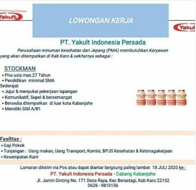 Lowongan Kerja di PT Yakult Indonesia Persada Kabanjahe ...