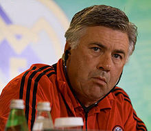 Gilardino was part of the AC Milan side coached by Carlo Ancelotti (above)