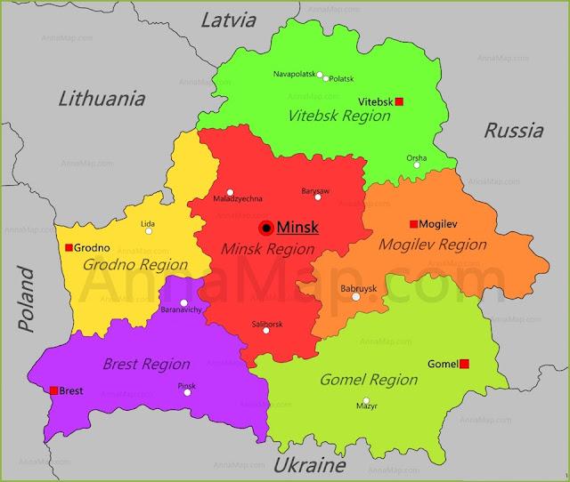 Printable Map of Belarus