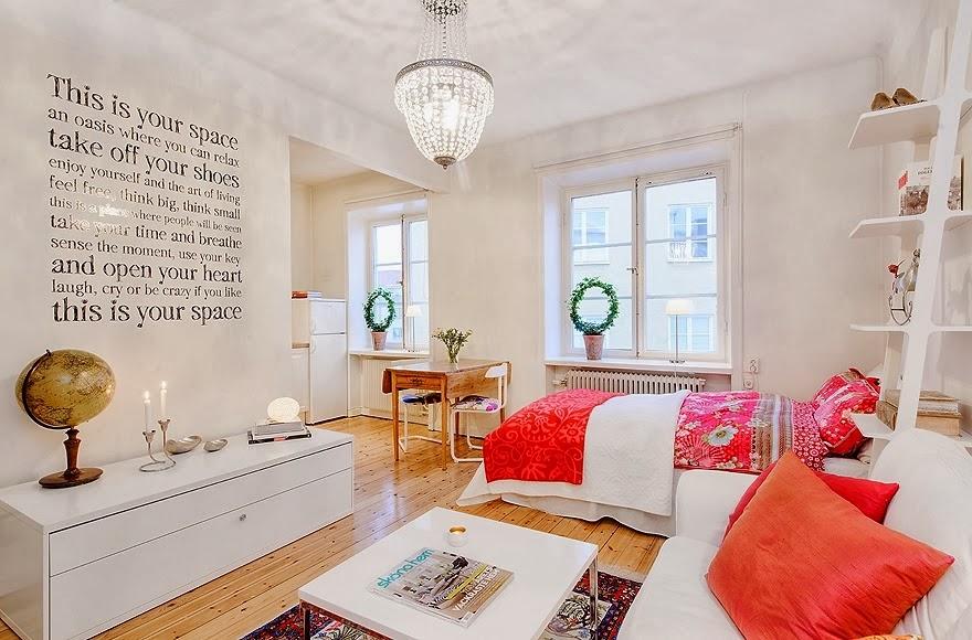 Radosne mieszkanko typu studio, wystrój wnętrz, wnętrza, salon, urządzanie domu, dekoracje wnętrz, aranżacja wnętrz, inspiracje wnętrz,interior design , dom i wnętrze, aranżacja mieszkania, modne wnętrza, małe wnętrza, kawalerka, małemieszkanie, białe wnętrza, styl skandynawski