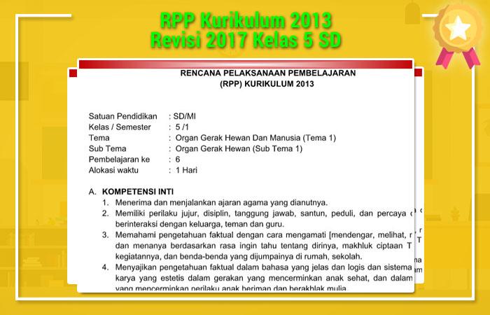 RPP Kurikulum 2013 Revisi 2017 Kelas 5 SD